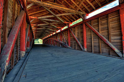 Photograph - Wooden Tunnel - Barrackville Covered Bridges West Virginia by Gregory Ballos