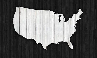 Wooden Usa  Map Art Print by Art Spectrum