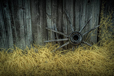 Photograph - Wooden Wagon Wheel Spokes In Infrared by Randall Nyhof