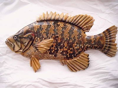 Dryriver Relief - Wooden Warmouth Bass Number One by Lisa Ruggiero
