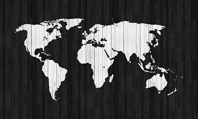 Old World Map Digital Art - Wooden World Map by Art Spectrum