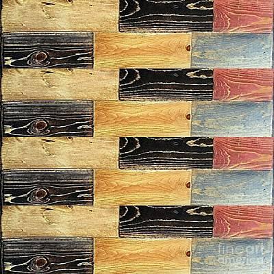 Artist Working Photograph - Woodgrain Art Abstract Golds Black Blues by Scott D Van Osdol
