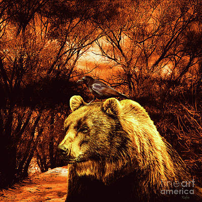 Grizzly Bear Mixed Media - Woodland Companions by KaFra Art