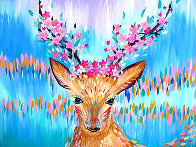 Cherry Blossoms Painting - Woodland Deer Spirit by Cathy Jacobs