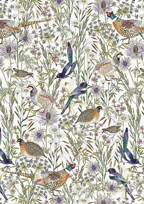 Repeating Digital Art - Woodland Edge Birds by Jacqueline Colley