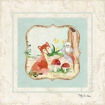 Fox Wall Art - Painting - Woodland Fairy Tale - Fox Owl Mushroom Forest by Audrey Jeanne Roberts