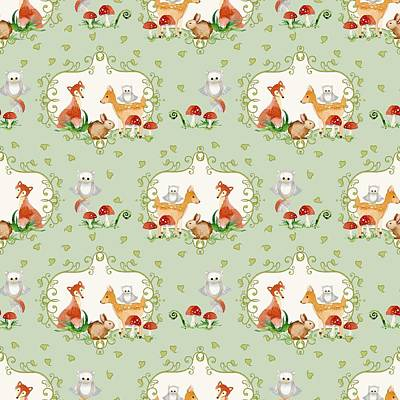Repeat Painting - Woodland Fairy Tale - Mint Green Sweet Animals Fox Deer Rabbit Owl - Half Drop Repeat by Audrey Jeanne Roberts