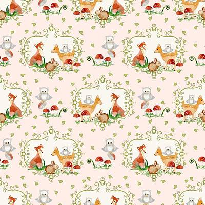 Repeat Painting - Woodland Fairy Tale - Pink Sweet Animals Fox Deer Rabbit Owl - Half Drop Repeat by Audrey Jeanne Roberts