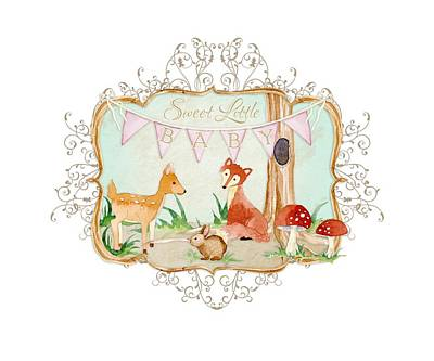 Painting - Woodland Fairytale - Banner Sweet Little Baby by Audrey Jeanne Roberts