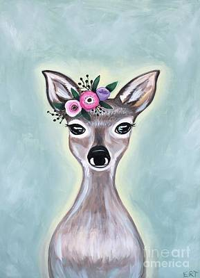 Painting - Woodland Floral Deer by Elizabeth Robinette Tyndall