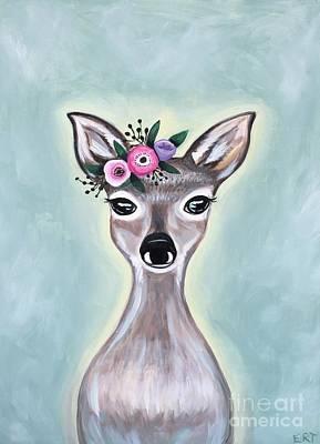 Painting - Woodland Floral Deer by Elizabeth Robinette Tyndall
