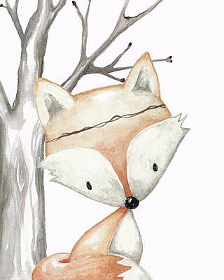 Fox Digital Art - Woodland Fox Boho Baby Nursery Decor by Pink Forest Cafe