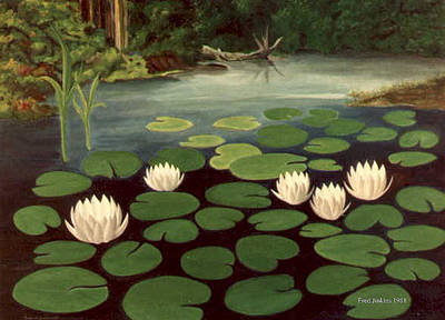 Woodland Hidden Pond Print by Fred Jinkins