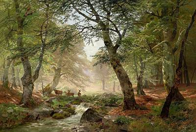 Dee Painting - Woodland Landscape With Dee by Heinrich Bhmer