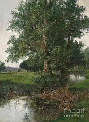 Adolf Painting - Woodland Landscape With River And Angler by Celestial Images