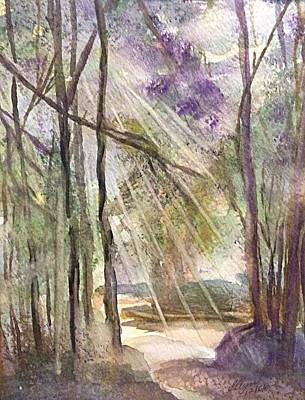 Painting - Woodland Path Lighting The Way by Ellen Levinson