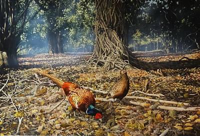 Wall Art - Painting - Woodland Pheasants by Julian Wheat