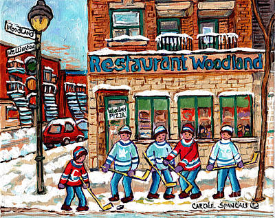 Painting - Woodland Pizza Montreal Verdun Winter Scene Painting For Sale Original Hockey Artwork C Spandau Art by Carole Spandau