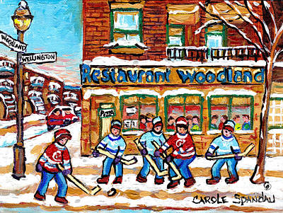 Painting - Woodland Pizza Restaurant Verdun Street Hockey Scene Montreal Winter City Paintings  C Spandau       by Carole Spandau