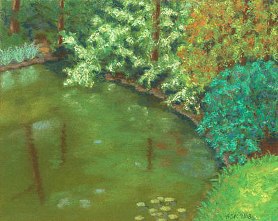 Pastel - Woodland Pond by Anne Katzeff