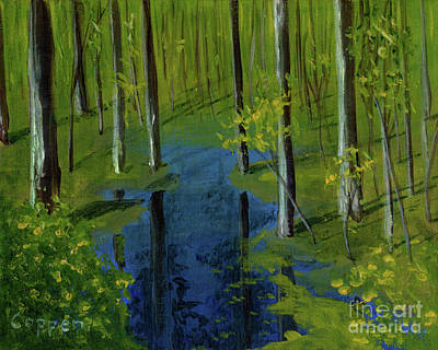 Painting - Woodland Pool In Spring by Robert Coppen