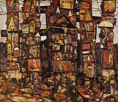 Hill Top Village Painting - Woodland Prayer 1915 by Egon Schiele