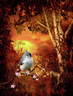 Titmouse Digital Art - Titmouse Woodland Scene  by John Junek