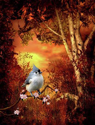 Animals Digital Art - Titmouse Woodland Scene  by John Junek