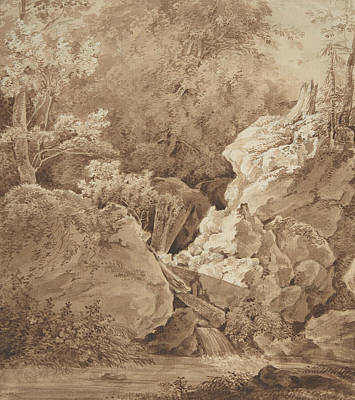 Drawing - Woodland Scene With Mountain Stream by Johann Georg von Dillis