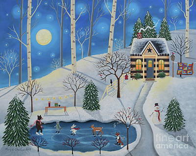 Winter Cabin Painting - Woodland Skaters by Mary Charles