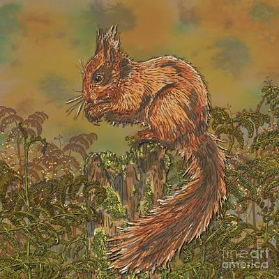 Digital Art - Woodland Squirrel by Lotti Brown