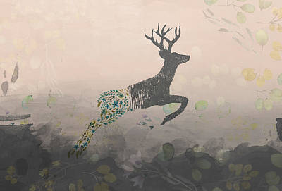 Woodland Stag Art Print by Amanda Lakey