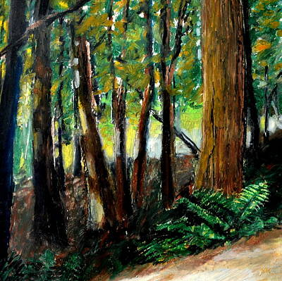 Oil Pastel Drawing - Woodland Trail by Michelle Calkins