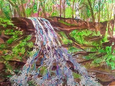 Painting - Woodland Waterfall Catskills by Ellen Levinson