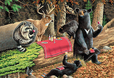 Raccoon Painting - Woodland Wine Tasting by JQ Licensing