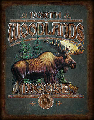 Signed Painting - Woodlands Moose by JQ Licensing