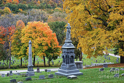Photograph - Woodlawn Cemetery Winona Mn Fall Colors by Kari Yearous