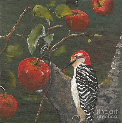 Painting - Woodpecker In Apple Tree by Jan Dappen