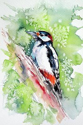Woodpecker Painting - Woodpecker by Kovacs Anna Brigitta
