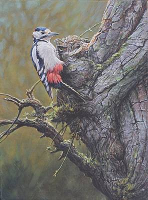 Art Print featuring the painting Woodpecker On Tree by Alan M Hunt