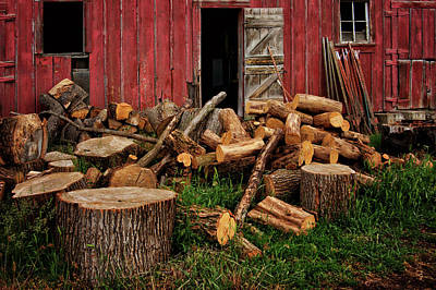 Photograph - Woodpile - By The Barn by Nikolyn McDonald
