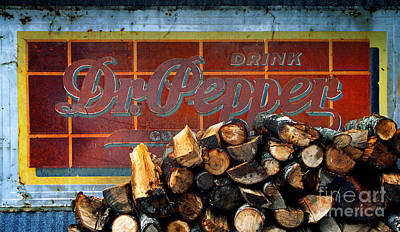 Photograph - Woodpile With Taste - Dr Pepper Rustic Antique Red Country Southwest by Jon Holiday