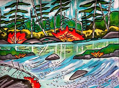 Painting - Woods And Stream Reworked by Nikki Dalton
