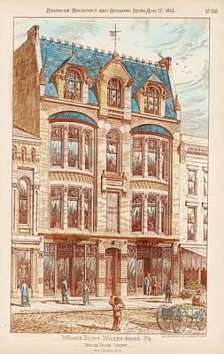 Wood's Building. Wilkes Barre Pa. 1878 Art Print