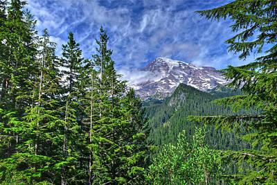 Woods Surrounding Mt. Rainier Art Print