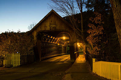 Photograph - Woodstock Vt Covered Bridge At Night by Jeff Folger