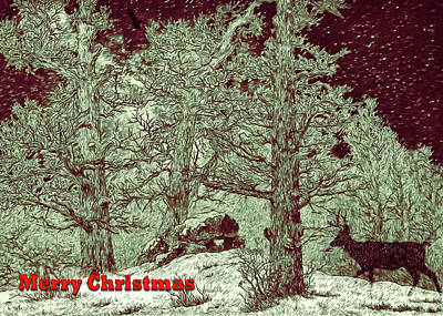Digital Art - Woodsy Christmas Card by John Haldane