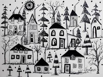 Pen And Ink Tree Drawing - Woodsy Village by Karla Gerard