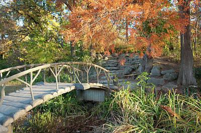 Photograph - Woodward Park Bridge In Autumn - Tulsa Oklahoma by Gregory Ballos