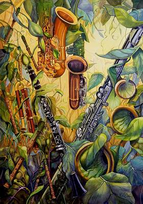 Bassoon Painting - Woodwind Garden by Katharine Cartwright